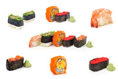 Collection Sushi set pack for sale isolate on white background Royalty Free Stock Images