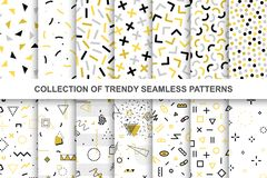 Collection of swatches memphis patterns - seamless design. Fashion 80-90s. Abstract trendy vector backgrounds royalty free illustration