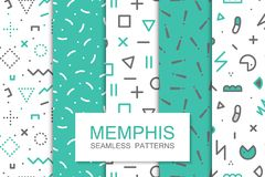 Collection of swatches memphis patterns - seamless. Fashion 80-90s. Abstract trendy vector backgrounds royalty free illustration