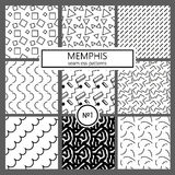 Collection of swatches memphis patterns - seamless. Fashion 80-90s. Black and white mosaic textures. Collection of swatches memphis patterns - seamless. Fashion royalty free illustration