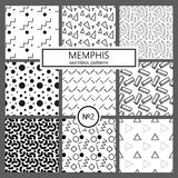 Collection of swatches memphis patterns - seamless. Fashion 80-90s. Black and white mosaic textures. Collection of swatches memphis patterns - seamless. Fashion stock illustration