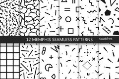 Collection of swatches memphis patterns - seamless. Fashion 80-90s. Black and white mosaic textures royalty free illustration