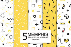 Collection of swatches memphis patterns - seamless. Fashion 80-90s. Colors mosaic textures. Gold backgrounds vector illustration