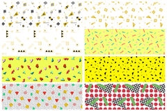 Collection of swatches memphis patterns - seamless. Retro fashion style 1980-1990s. Color mosaic geometric shapes royalty free illustration