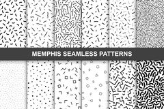 Collection of swathces memphis patterns - seamless. Fashion 80-90s. Black and white mosaic textures royalty free illustration