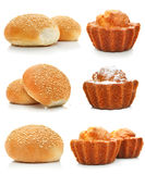 Collection of sweet cakes and rolls isolated Stock Image