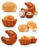 Collection of sweet fancy cakes and croissant Royalty Free Stock Images