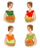 Collection. A sweet lady holds a basket with apples, persimmons, grapes, strawberries. Ripe and sweet fruits. The girl is young. And beautiful. Vector vector illustration