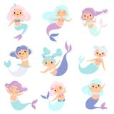 Collection of Sweet Little Mermaids, Lovely Fairytale Girl Princess Mermaid Characters Vector Illustration. On White Background stock illustration