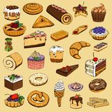 Collection of sweet pastries Royalty Free Stock Image