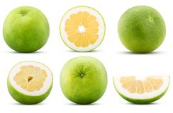 Collection sweetie citrus fruit, whole, cut in half, slice royalty free stock images