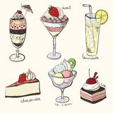 Collection, sweets, delicious dessert sweets, Royalty Free Stock Image