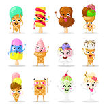 Collection sweets emotion lovely ice cream, doodle icons. Beautiful sweet . Set of funny creams. Flat design. Stock Photos