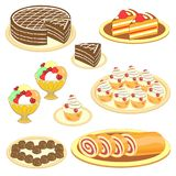 Collection of sweets. Exquisite treats, cake, ice cream, roll, cupcakes, muffins, sweets. Decoration of the festive table. Vector stock illustration