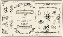 Collection of swirly design stock image