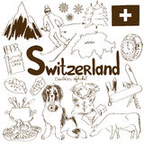 Collection of Switzerland icons Stock Image