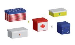 Set financial boxes. Stock Image