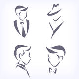 Collection of symbolic men faces. Stock Photos