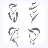Collection of symbolic men faces. Stock Photos