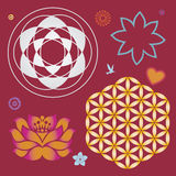 Collection of symbols of a lotus and life flower Stock Photos
