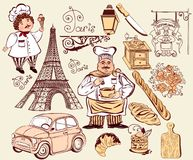 Collection of symbols of Paris. Royalty Free Stock Images