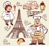 Collection of symbols of Paris. stock photography