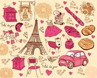Collection of symbols of Paris. Hand drawing Royalty Free Stock Photos