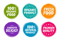 Collection symbols such as natural and organic product Stock Image