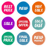 Collection symbols such as Special offer, Hot sale, Best price, New, Sold out, Special price, Final sale, New Product. Collection  symbols such as Special offer Stock Photography