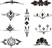 Collection of symmetrical floral elements Royalty Free Stock Image