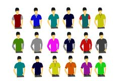 Collection of T-shirts on the male model on white background stock illustration