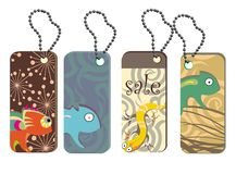 Collection tags with cute reptiles Royalty Free Stock Images