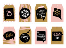 Collection of tags for gifts. Eight different tags in one design. Festive Christmas inscriptions. Golden elements Royalty Free Stock Images