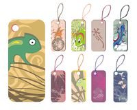 Collection  of tags with reptiles Stock Image