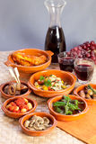 Collection of tapas foods. Royalty Free Stock Photography