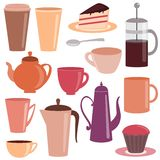 Collection of tea and coffee items Royalty Free Stock Images