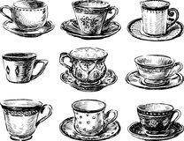Collection of tea cups Royalty Free Stock Photography