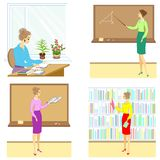 Collection. Teacher at the lesson at school. A woman reads a book, a notebook, shows a pointer to the board, sits at a table, in stock illustration