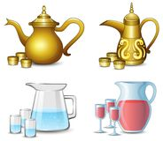 Collection of the teapot with cups on white background. Illustration of Collection of the teapot with cups on white background royalty free illustration