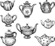 Collection of teapots Royalty Free Stock Image