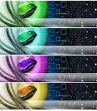 Collection of technological banners. Four technologic banners or backgrounds with astral space, mouse, stars and binary code Royalty Free Stock Photos
