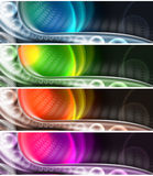 Collection of technological banners. Four banners or technological background with multicolored shades Stock Photo