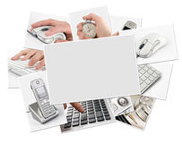 Collection of technology photos with blank frame. Clipping path Royalty Free Stock Photo