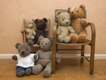 Collection of teddy bears on children's chair Stock Image