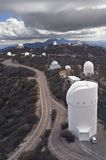 Collection of Telescopes atop Kitt Peak, Arizona. This aerial view displays many of the optical telescopes located atop the summit of Kitt Peak in southern Royalty Free Stock Photography