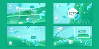 Vector abstract banners set in blue and green colors Royalty Free Stock Image