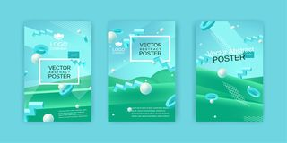 Vector abstract posters set in blue and green colors Royalty Free Stock Photos