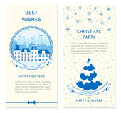 Collection of templates for Christmas and New Year greeting card, Vector illustration, Blue and white color, Design for Stock Photography