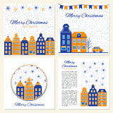 Collection of templates for Christmas and New Year greeting card, Vector illustration, Blue and white color, Design for Royalty Free Stock Photos