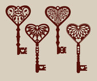 Collection of templates of decorative keys Stock Photo